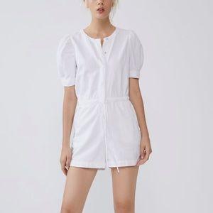 Zara white jumpsuit with pockets